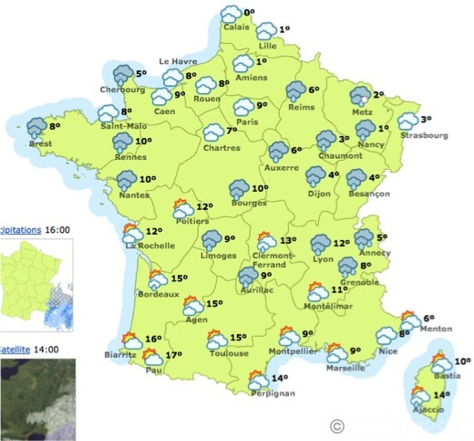 Map Of France Weather.French Weather Map Leo Teatero