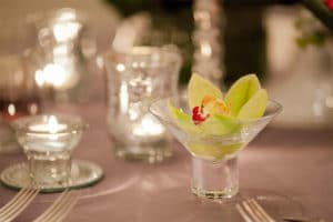 Cymbidium Orchids in a Martini Glass